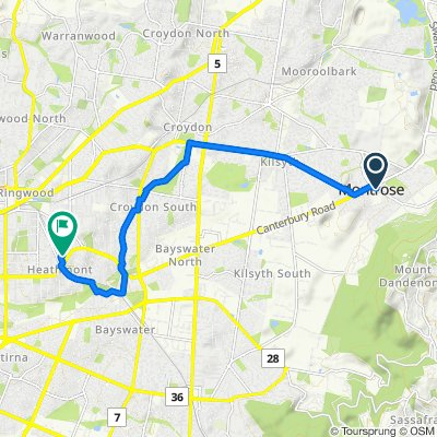 Mt Dandenong Tourist Road, Montrose to 6 Stoda Street, Heathmont