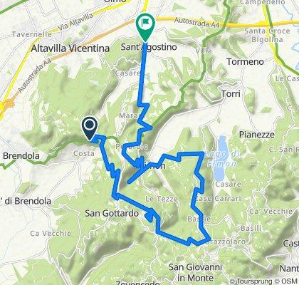 Da Via Monte Grappa, Arcugnano a Via San Agostino 17, Nogarazza