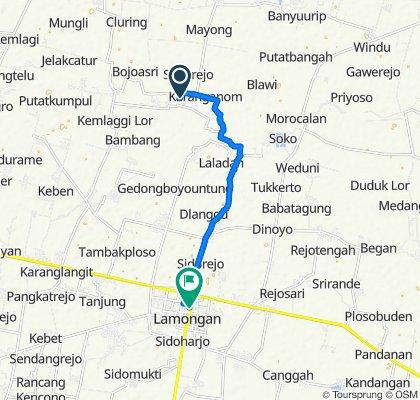 Route to Jalan Lamongrejo, Lamongan