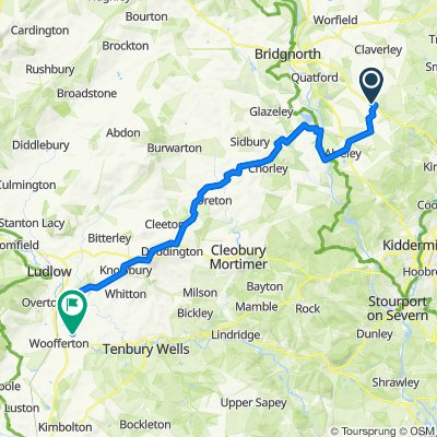 Route from A458, Bridgnorth