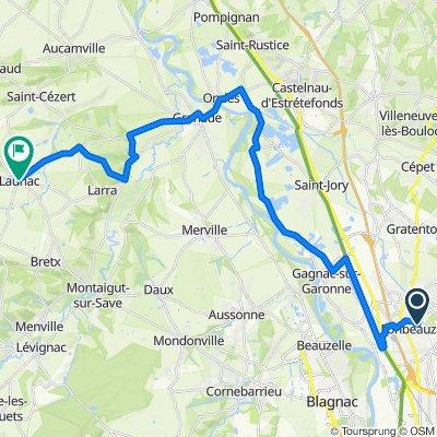 De Chemin de Raudelauzette 56, Fonbeauzard à Traversee de la Bascule 173, Launac