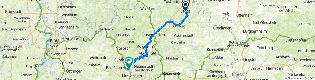 Goethestraße 1, Lauda-Königshofen nach Bad Friedrichshall Hbf