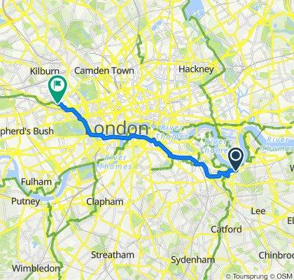 Nelson Road, London to 50 Blomfield Road, London