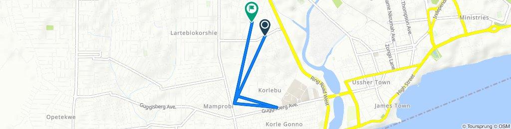 Larterbiokorshie Road, Accra to Abia Lane 1, Accra