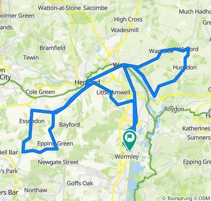 Broxbourne, Essendon, Hunsdon and back 40 mile ride