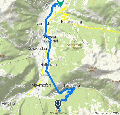 Route to Gaudergasse 13b, Zell am Ziller