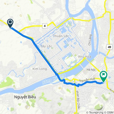 Cycling route from Culture Pham Travel to An Dinh Palace Hue