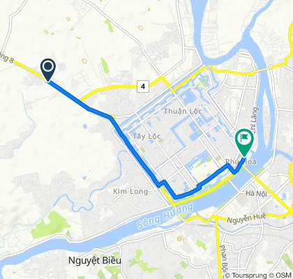 Cycling route from Culture Pham Travel to Dong Ba Market Hue City