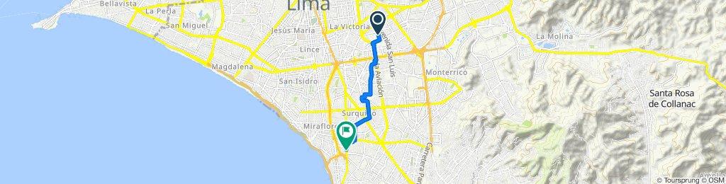 De Jirón Rio Piura 405, Cercado de Lima a Avenida República de Panamá 6584, Lima
