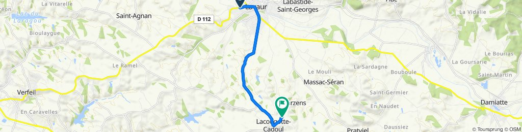 De Avenue Georges Pompidou 34B, Lavaur à Sabateri, Lacougotte-Cadoul