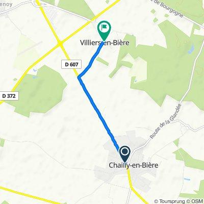 26 Route de Paris, Chailly-en-Bière to Rue de l'Église, Villiers-en-Bière