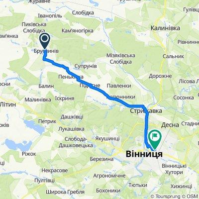 От Unnamed Road, Бруслинів до вулиця Тімірязєва 48, Вінниця