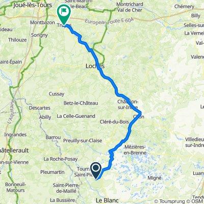 retour Tournon Saint Martin (Fonterland)  à Truyes via l'indre à vélo