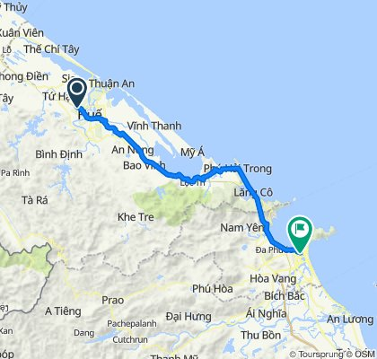 Cycling route from Culture Pham Travel to Da Nang