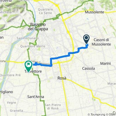 Da Via Don Luigi Vaccari 12, Romano D'ezzelino a SP96 38, Rosà