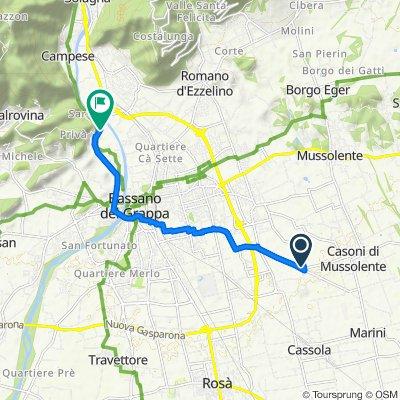 Da Via Don Luigi Vaccari 10, Romano D'ezzelino a Villaggio Sant'Eusebio 38, Bassano del Grappa