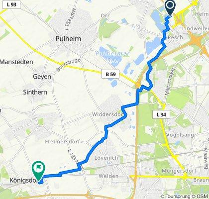 Im Gewerbegebiet Pesch 14, Köln nach Mistelweg 30, Frechen