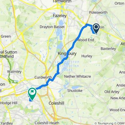 Danny Morson Way, Atherstone to 16 Hawthorne Road, Birmingham