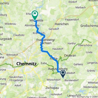 Viebigweg 24, Leubsdorf nach Schillerstraße 1, Mittweida
