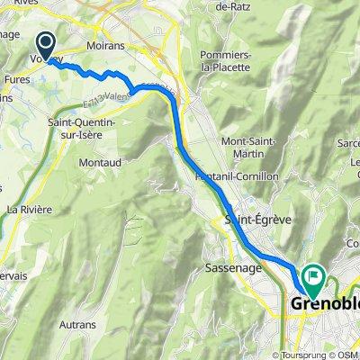 De Route de la Gare 50B, Vourey à Place Victor Hugo 12, Grenoble