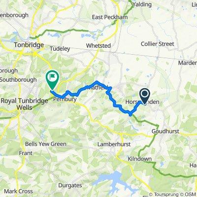 Route from Hestercombe, Goudhurst Road, Tonbridge