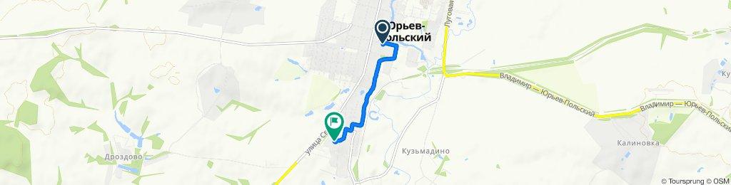 От улица Перфильева 19, Юрьев-Польский до улица Чехова 13, Юрьев-Польский