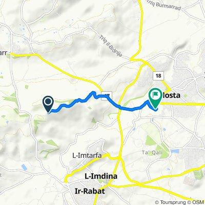 Route to Triq Antonio Miruzzi, Mosta