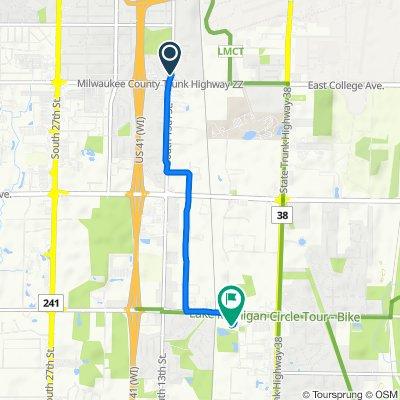1301–1353 W Granada St, Milwaukee to 7971 S Sixth St, Oak Creek