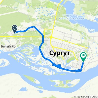 От улица Саянская 18, Сургут до проспект Пролетарский 32, Сургут