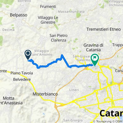 Da Contrada Montecenere, Belpasso a Via Renzo de Felice 7, Gravina di Catania