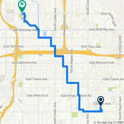 Route to 2415 N First St, Fresno