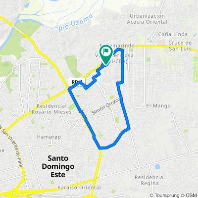 De Calle Perpendicular 2 9, Santo Domingo Este a Calle Perpendicular 2 9, Santo Domingo Este
