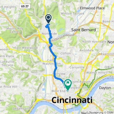 1600 Thompson Heights Ave, Cincinnati to 115 14th St W, Cincinnati
