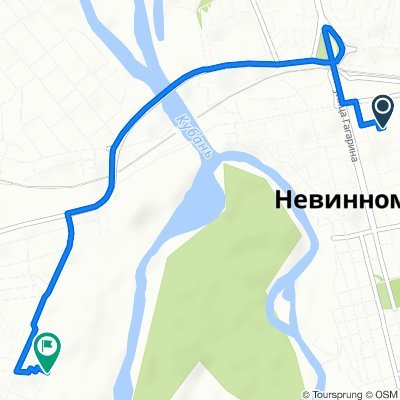 От улица Гагарина 43б, Невинномысск до улица Маяковского 16А, Невинномысск