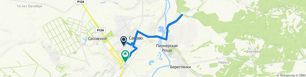 От улица Типанова, 13, Сасово до улица Новикова-Прибоя, 59, Сасово