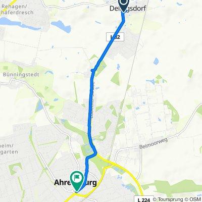 Schulstraße 7A, Delingsdorf nach Hamburger Straße 19-21, Ahrensburg