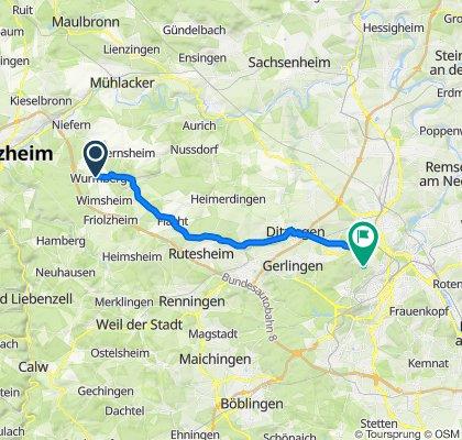 Gollmerstraße 35, Wurmberg nach Feuerbacher-Tal-Straße 141, Stuttgart