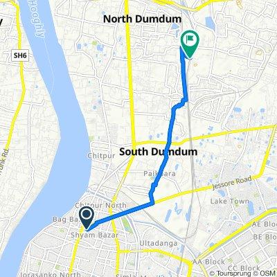 Shyam Bazar Street 76B, Kolkata to 38/2, Baranagar
