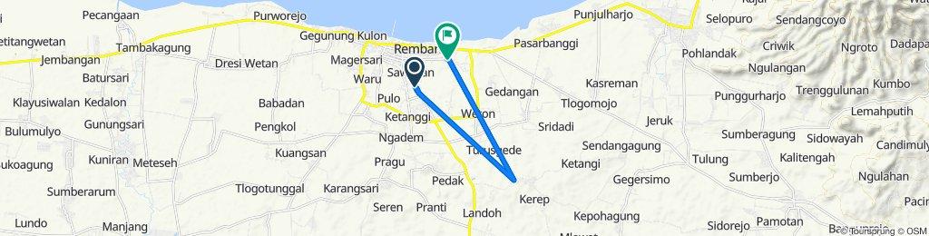 Jalan Pemuda 19, Kecamatan Rembang to Jalan Pahlawan 21a, Kecamatan Rembang