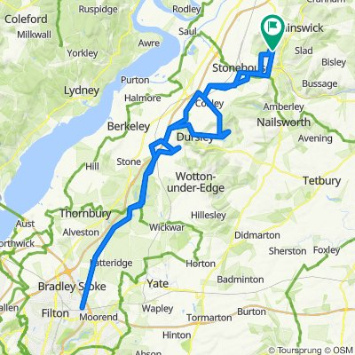 Whiteshill to Hambrook (Bristol) via Cam, Stinchcombe, Leyhill & Cromhall, returning via North Nibley, Dursley, Uley & Coaley