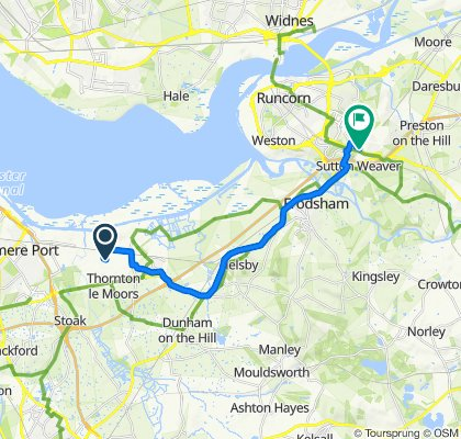 Route to 64–74 Masseyfield Road, Runcorn