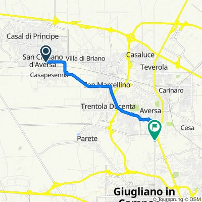 Da Via Vincenzo Cardarelli 2, San Cipriano d'Aversa a Via Cirigliano 46-120, Aversa