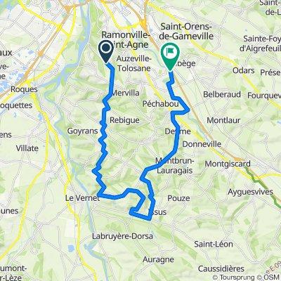 De Grand-Rue de la Mairie 4, Pechbusque à Chemin de Halage 69, Castanet-Tolosan
