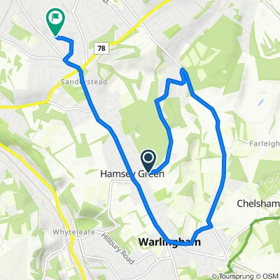 31 Kingswood Lane, Warlingham to 27 Farm Fields, South Croydon