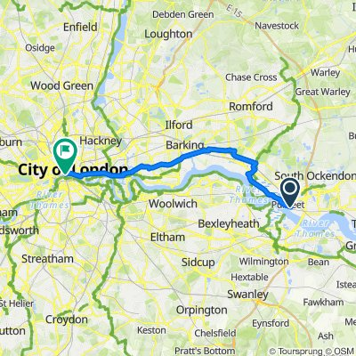 London Road Purfleet, Purfleet to Paul's Walk, London