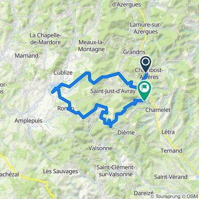 Itinéraire confortable en Chambost-Allières
