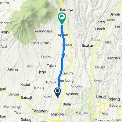 Route from Jalan Wisnu Marga Belayu, Tabanan