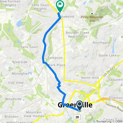 400 E Washington St, Greenville to 1900 Poinsett Hwy, Greenville