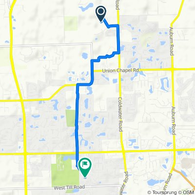 14066 Hilders Ct, Fort Wayne to 9801–9805 Dawsons Creek Blvd, Fort Wayne