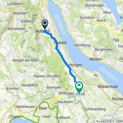 Krebsbachweg 2–12, Adliswil to Zeigerrain 1–3, Hirzel